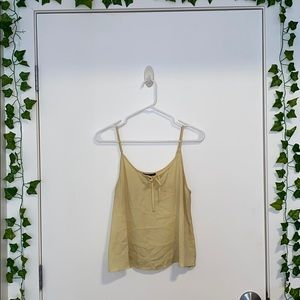 Yellow front tie tank top
